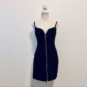 Topshop Black Denim Zip Up Body-con Dress Strap
